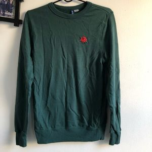 Green crew neck rose embroidery